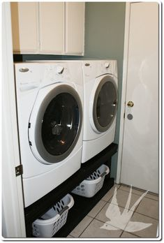 "Seriously need to make this space for laundry baskets since there is no space for one in my laundry ""closet"" :)"