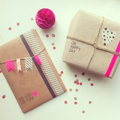 Lovely gift wrapping using washi tape and twine. Love the hot fuschia against the kraft brown, match made in heaven. #Christmas #GiftWrapping #WashiTape