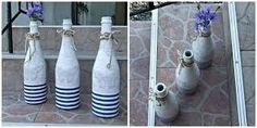 Znalezione obrazy dla zapytania butelki decoupage morskie