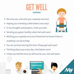 Get Well Wishes. 20 ideas for what to write in a get well card. English Class, English Lessons, Learn English, English Words, English Language, English Grammar, I Wish You Well, Get Well Wishes, Words To Use