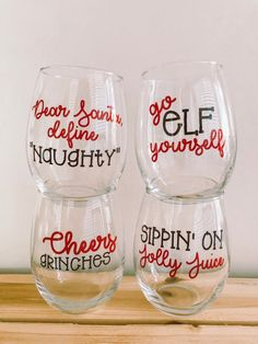 Christmas Wine Glass- Christmas Wine Glass Set- Christmas Wine-Funny Christmas Wine-Funny Wine Glasses-Christmas Gifts- Gifts Under 40 – Raccomandazioni di Decorazione Christmas Wine Glasses, Diy Wine Glasses, Decorated Wine Glasses, Painted Wine Glasses, Custom Wine Glasses, Wine Glass Sayings, Wine Glass Crafts, Wine Glass Set, Wine Quotes