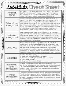 Free and Editable Substitute Cheat Sheet-great for the beginning of the school year!