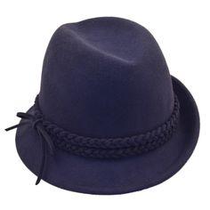 Palarie trilby din fetru bleumarin Aceasta palarie trilby din fetru bleumarin are un aspect usor retro, avand borurile laterale usor asimetrice. Banda dubla, impletita delicat, din acelasi fetru bleumarin, este un detaliu extrem de cochet, care confera charm acestei palarii trilby. Hats, Fashion, Moda, Hat, Fashion Styles, Fashion Illustrations, Hipster Hat