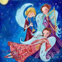 "Love this colorful ""Angel Music"" by Caroline Bonne Müller - ©Cartita Design."