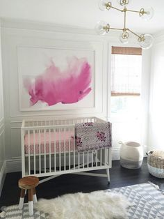 Beautiful watercolor. This is how to do pink in a little girl's nursery!