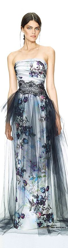 ❀stunning floral gown with tulle lay over