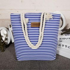 """Blue & White Striped"" Tall Summer Canvas Bag"