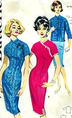1960s Butterick 9790 vintage qipao cheongsam Asian dress blue pink jacket