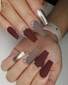 23 Matte Nail Art Ideas That Prove This Trend is Here to Stay Nail Art Designs Images, Fall Nail Art Designs, Acrylic Nail Designs, Latest Nail Designs, Red Nail Designs, Matte Nail Art, Fall Acrylic Nails, Matte Gray Nails, Fall Nails