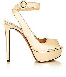 Suede Crisscross-Strap Platform Sandals