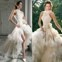 BEAUTIFUL Wedding Dress Feather Design All Sizes Available High Low Trailing