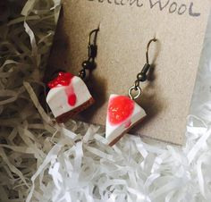 Excited to share the latest addition to my #etsy shop: polymer clay cherry cheese cake earrings #jewelry #earrings #earwire #girls #white #red #fooddrink #christmas #cheesecake #polymerclay #cottonwoolshop #handmade