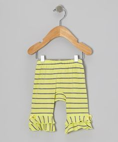 Citrus Charcoal Stripe Ruffle Leggings - Infant by KidCuteTure #zulily #zulilyfinds