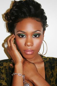 Beautiful dark skin with colorful makeup