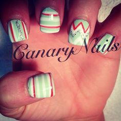 Mint, coral and white chevrons & stripes nail art design