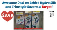 LOVE these new printable coupons!! Grab yours and head to Target or use at your favorite store! Awesome Deal on Schick Hydro Silk and Trimstyle Razors @ Target!  Click the link below to get all of the details ► http://www.thecouponingcouple.com/awesome-deal-on-schick-hydro-silk-and-trimstyle-razors-target/ #Coupons #Couponing #CouponCommunity  Visit us at http://www.thecouponingcouple.com for more great posts!