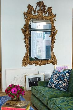 Antique mirror , modern living room