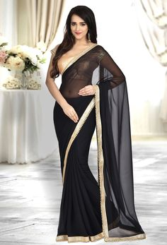 Black Georgette Plain Pallu Saree is part of Black saree - Shop black georgette plain pallu saree , freeshipping all over the world , Item code Black Saree Plain, Black Net Saree, Plain Saree, Beautiful Saree, Beautiful Indian Actress, Indian Beauty Saree, Indian Sarees, Indian Dresses, Indian Outfits