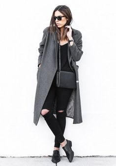 derby with wool coat and black outfit