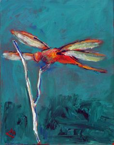 DRAGONFLY Painting Original Colorful Art by AbbieBlackwell on Etsy, $35.00