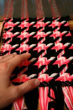 Weave-Away: Inexpensive acrylic yarn used. Learn on inexpensive yarn.