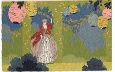 Meschini Art Deco Postcard 1920s Hand Painted Woman Coloured Lanterns A | eBay