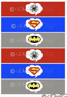 Printable Napkin Ring  Batman Spiderman Superman by worldwideparty, $3.50 Batman Spiderman, Superman, Party Buffet, Superhero Party, Cub Scouts, Holiday Decorations, Napkin Rings, Shower Ideas, Free Printables