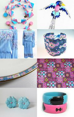 Pink and Blue Just For You by tabbyannabel on Etsy-- Pinned with TreasuryPin.com