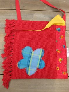 shoulder bag made from a blanket and scraps of fabric. #Folkleure