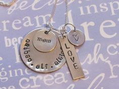 Stacked Family Necklace  Personalized Hand by ExpressionsStamped, $31.00