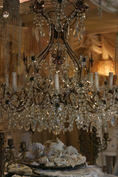 Antique Lace Trims- Sheelin Lace Shop Love that crystal chandelier/candelabra… Chandelier, Purple Home, Chandelier Lighting, Beautiful Chandelier, Mirrors And Chandeliers, Chandelier Lamp, Candlelight, Candles, Lights