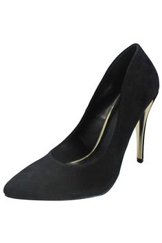 Black Classic Suede Pointed Toe High Heel Stiletto Pumps