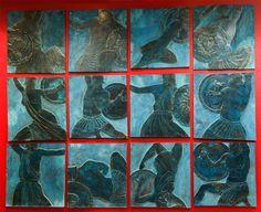 Амазономахия/Противостояние. Amazonomachy / Confrontation. A series of 12-and low, almost graphically reliefs in square skirtings, united in a composite composition. Bronze or cast-stone. More information at: http: //i-korzhev.ru. Author Ivan Korzhev.  Амазономахия/ Противостояние. Серия из 12-и низких, почти графичных рельефов в квадратных плинтах, объединенных в сложносоставную композицию. Бронза или литьевой камень. Больше информации на сайте: http://i-korzhev.ru. Автор Иван Коржев.