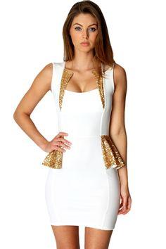 Sequin Trim Detail Peplum Dress