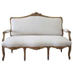 Century Giltwood French Louis XV Style Settee in Linen 1 Ottoman Sofa, Settee, Sofa Chair, Antique Sofa, Edwardian Era, Pantry, Sofas, 19th Century, Nest