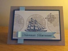 Stamping with Val-masculine card using the Open Sea.