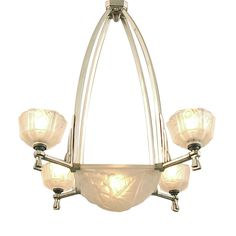 French art deco chandelier by degue httpwww french art deco chandelier by degue bowl and four lights aloadofball Images