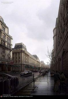 Title: Rain Street  Name: zhang naigang  Country: China  Software: 3ds max, Photoshop, VRay