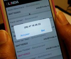 L1NDA heeft zojuist een nieuwe versie van de mobiele website online geplaatst! U kunt nu via L1NDA mobiel uw contactenlijst bekijken en direct een contactpersoon bellen of mailen. Probeer het nu zelf uit ;-)