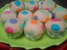 polkadot steamed cupcake