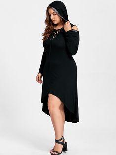 Plus Size Cold Shoulder High Low Midi Dress