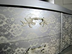 spray paint over lace on wood/furniture