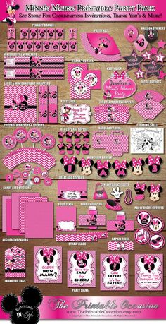 3 DAY SALE on Party Packs! Minnie Mouse Party Pack, Pink Chevron and Polka Dot Minnie Mouse, Wrappers Toppers Labels Centerpieces Banner