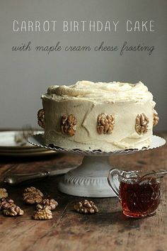Carrot Birthday Cake with Maple Cream Cheese Frosting - Vintage Kitchen Notes