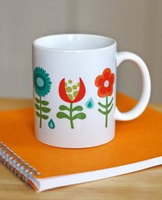 DIY cup with flowers.