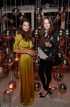 Party girls: Sarah Ann Macklin and her cousin posed among the decadent decorations Sarah Ann, Paloma Faith, Satin Gown, Simple Style, Tower, Glamour, Decorations, Elegant, Girls
