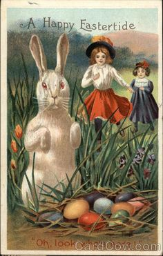 """Children Discovering Easter Bunny and Eggs Series 750/1 A Happy Eastertide """"Oh, look who's here!"""""""