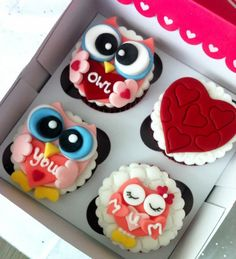 Almond and Honey: Valentines Sweet Gift Boxes, husband wanted daughter to gift to his wife on valentines day Owl Cupcakes, Yummy Cupcakes, Cupcake Cakes, Mothers Day Cake, 30th Birthday Cupcakes, Cupcake Party, Gorgeous Cakes, Amazing Cakes, Biscuits