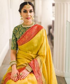 Love the ethnic look on her Indian Attire, Indian Ethnic Wear, Indian Dresses, Indian Outfits, Saree Blouse Neck Designs, Stylish Sarees, Saree Look, Elegant Saree, Banarasi Sarees