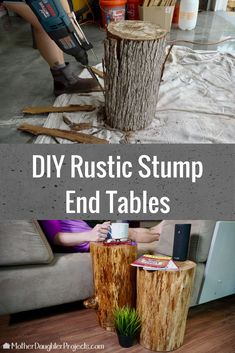 60 Trendy how to build a tree house diy stump table Log End Tables, Outdoor End Tables, Log Table, Tree Stump Table, Patio Table, Tree Stumps, Wood Stump Side Table, Wood Stumps, Tree Logs